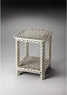 Handmade Bone Inlay End Table (India) Brown Off-White Traditional Square MDF Resin Wood Shelf