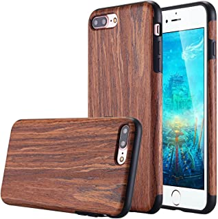 Lontect Compatible iPhone 8 Plus Case, iPhone 7 Plus Case, Slim Matte Shock Absorbing Flex TPU Non Slip Wood Tactile Extra Grip Rubber Bumper Case Cover for Apple iPhone 8 Plus,iPhone 7 Plu - Rosewood