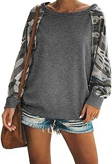 Womens Casual Camo Print Long Sleeve Shirts Loose Fit Pullover Sweatshirt Tops