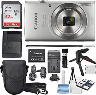 Canon PowerShot ELPH 180 Digital Camera (Silver) + 32GB SDHC Memory Card + Flexible Tripod + AC/DC Turbo Travel Charger Battery + Protective Camera case with Deluxe Bundle
