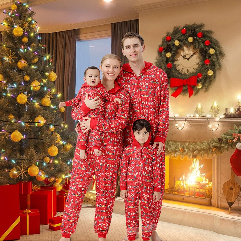 Christmas Pajamas for Family,Christmas Matching Outfits Long Sleeve Red Plaid Print Sleepwear,Family Onesies