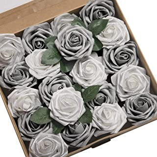 Ling's moment Artificial Flowers Roses 50pcs Real Looking Shimmer Silver Grey Fake Roses w/Stem for DIY Christmas Tree Xmas Wedding Party Centerpieces Arrangements Party Decor