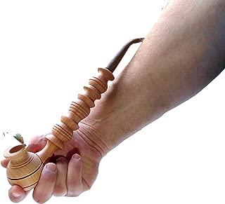 Handmade Wooden Smoking Pipe Metal Bowl Cover Tobacco (Beige)