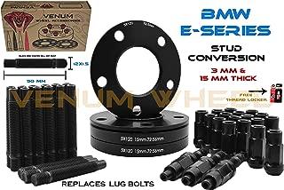 Full Set of 4 Pc Black Staggered (2) 3mm + (2) 15mm Thick Wheel Spacers + Black 12x1.5 Racing Stud Conversion Kit E36 E46 E90 E92 E64 E23 E32 E38 E31 Compatible With Stock & Aftermarket Wheels