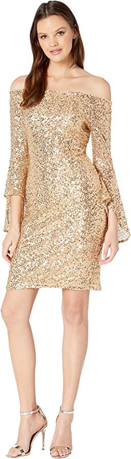Off Shoulder Sequin Dress w/ Bell Sleeves