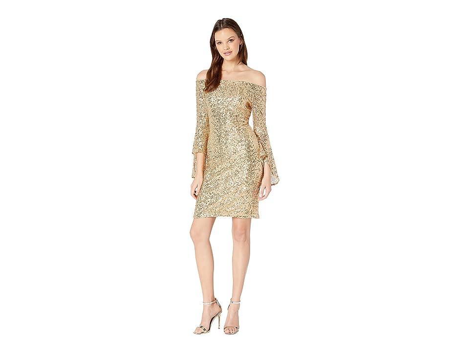 Bebe Off Shoulder Sequin Dress w/ Bell Sleeves (Gold) Women