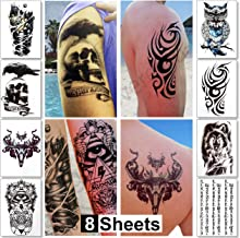 Temporary Tattoos for Men Guys & Teens Fake Tattoo Stickers (8 Large Sheets) Tattoos for Boys Biker Tattoos Rocker Transfers for Arms Shoulders Chest & Back - Body Art Tattoo Sticker Waterproof Black