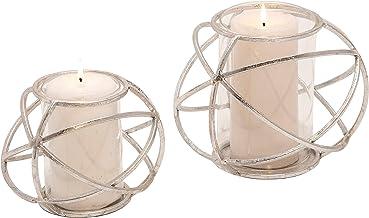 """Sagebrook Home 14875-01 Set of 2 6"""" Orb Candle Holder, Silver"""
