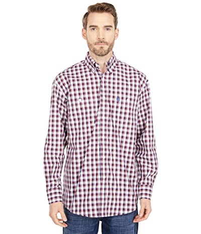 Wrangler George Strait Two-Pocket Plaid Button (Burgundy) Men