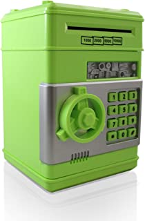 Green Grey Safe Coin Bank For Kids - Authentic ATM Money Saver Keeps Cash, Toys, and Jewelry Safe Inside - Auto Insert Bills and Electronic Password - Cool Piggy Bank Makes A Great Birthday Gift