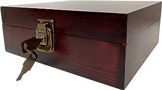Locking Stash Box with Rolling Tray - Wood Stash Box with Lock - Wood Storage Box Stash Boxes (Dark Brown)