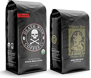 DEATH WISH Coffee The World's Strongest Coffee [1 lb] and VALHALLA JAVA Odinforce Blend [12 oz] Whole Bean Coffee Bundle/B...