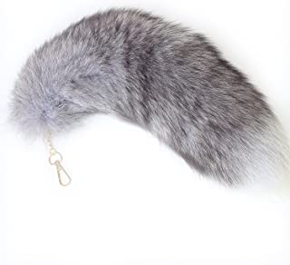 Supper Huge and Fluffy Real Fox Tail Fur Halloween Cosplay Toy Handbag Charm Accessory Key Chain Ring Hook Tassels