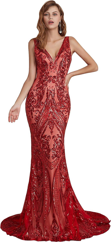 Ikerenwedding Women's V-Neck Sequins Sleeveless Lace-up Mermaid Evening Dress