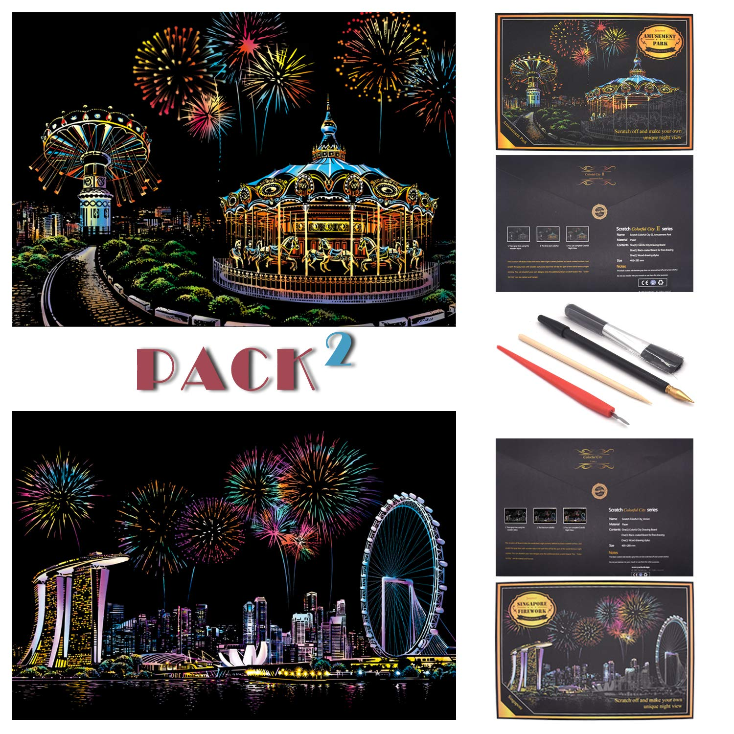 SiYear Scratch Paper Rainbow Painting Sketch City Series Night Scene,Scratch Painting Creative Gift,Scratchboard for Adult and Kids with 4 Tools