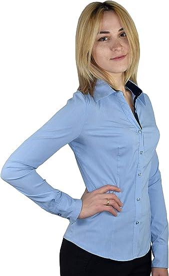 1stAmerican Camisa Mujer de Manga Larga Stretch - Blusa con Contraste Interior de Muñeca y Botones