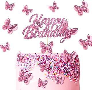 13 Stück Schmetterling Happy Birthday Kuchen Topper Glitzer Schmetterling Kuchen Topper Schmetterling Cupcake Picks für Geburtstag Party Liefert Baby Shower Jahrestag Hochzeit