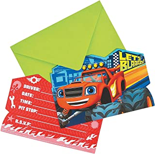 Fun Express - Blaze & Monster Machines Invites (8pc) for Birthday - Party Supplies - Licensed Tableware - Licensed Invitations - Birthday - 8 Pieces