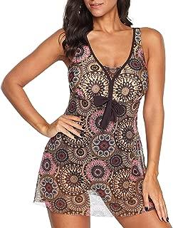 Zando Women One Piece Swimdress Tummy Control Swim Dress Swimwear Slimming Skirt Swimsuits Bathing Suit Dress