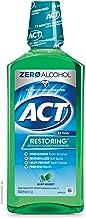 ACT Restoring Zero Alcohol Fluoride Mouthwash 33.8 fl. oz. Strengthens Tooth Enamel, Mint Burst