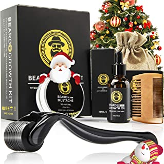 Beard Growth Kit for Men, Beard Growth Derma Roller, Serum Oil for Beard Growth, Beard Balm, and Comb, Stimulate Beard and...