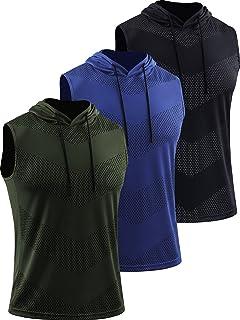 Neleus Men's Workout Tank Tops 3 Pack Sleeveless Running Shirts with Hoodie