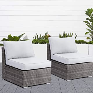 Wisteria Lane 2 Pieces Outdoor Patio Furniture Single Armless Sofas, Grey Wicker Single Chairs with Grey Cushion
