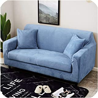 Orange-Day Plush Sofa Cover 18 Colors for Choose Thick seat Slipcovers Couch Sofa Covers Stretch Elastic Towel wrap Covering,Grey Blue,AB 190-230cm