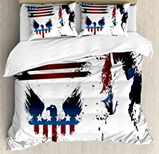 Ambesonne American Flag Duvet Cover Set, Set with Bald Eagle and Stripes Stars of Liberty Grunge Retro, Decorative 3 Piece Bedding Set with 2 Pillow Shams, Queen Size, Maroon Navy