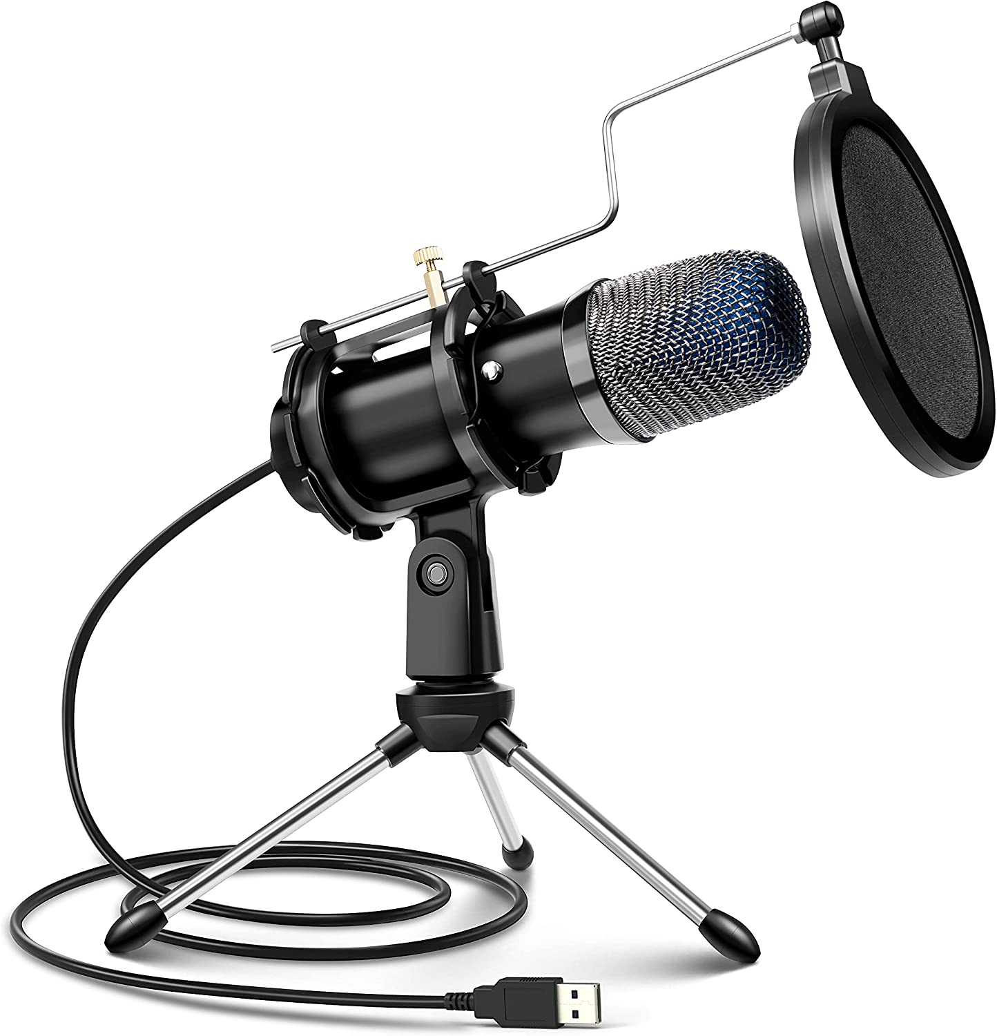 USB Microphone for Computer, Condenser Microphone for PC with Tripod Stand, Pop Filter, Shock Mount, for Gaming, Streaming, Podcasting, YouTube, Skype