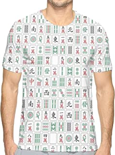 麻雀柄 Tシャツ メンズ クルーネック 半袖シャツ 男子トップス 面白い柄 吸汗速乾 日常カジュア着 個性