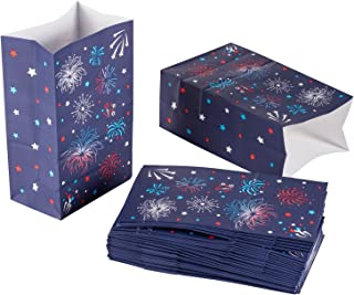 Paper Treat Bags - 36-Pack Party Favor Goodie Bags - 3 Dozen Party Treat Bags with Firework Designs, Perfect for Patriotic, America-Themed Parties, 5.1 x 8.7 x 3.2 Inches
