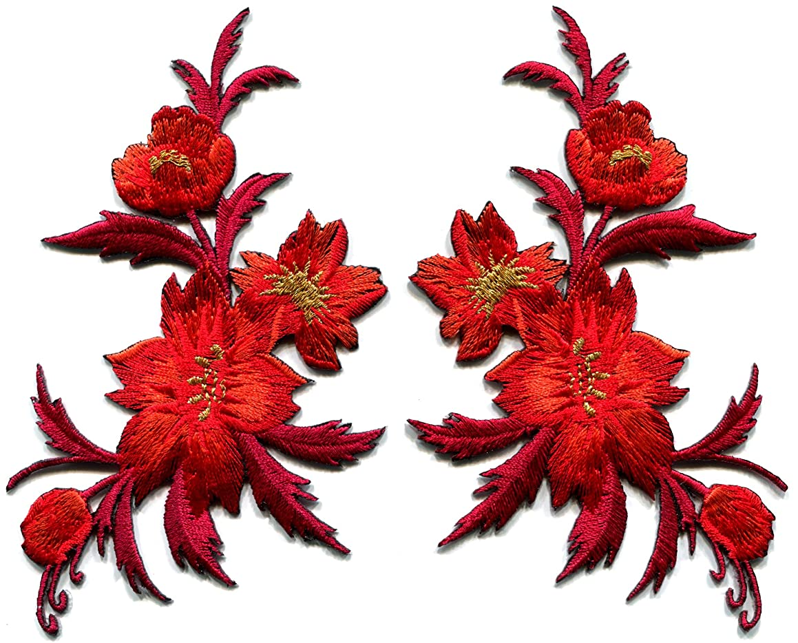 Red orange flowers pair floral bouquet boho embroidered appliques iron-on patches new