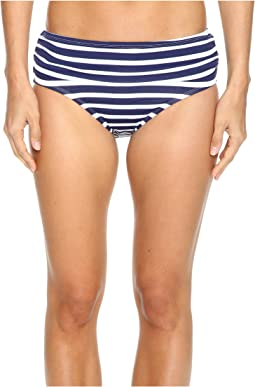 Breton Stripe High-Waist Bikini Bottom
