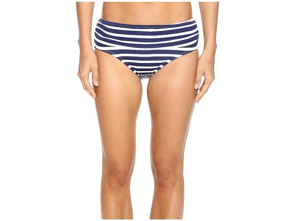 Tommy Bahama Breton Stripe High-Waist Bikini Bottom (Mare Navy/White) Women