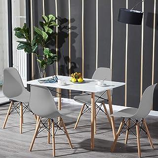 H.J WeDoo Table de Salle à Manger avec 4 chaises, Table Rectangulaire Blanche et 4 Gris Chaises Scandinaves en Plastique D...