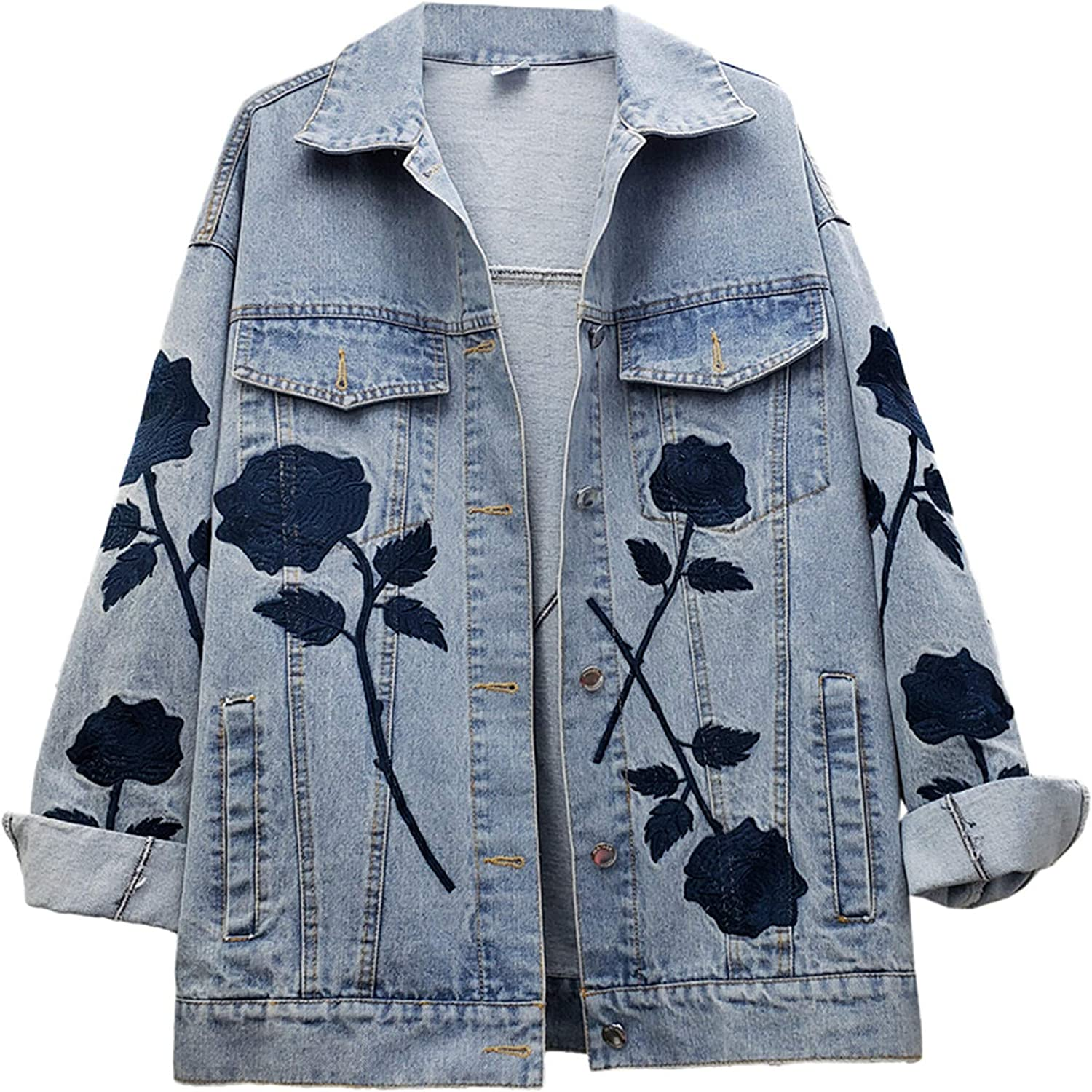 FJODE Autumn Embroidery Flowers Print Loose Mid-Length Jeans Coat Women's Long-Sleeved Denim Jacket