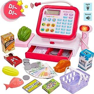 HERSITY Caja Registradora Juguete con Sonido Supermercado Infantil Alimentos de Juguete Juego de Imitacion para Niños (Rojo)