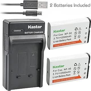 Kastar Battery (X2) & Slim USB Charger for Casio NP-90 NP90 work with Casio Exilim EX-H10 EX-H15 EX-H20G EX-H20GBK EX-H20GSR EX-FH100 EX-FH100BK Cameras