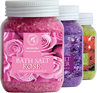 Bath Salt Set 3x400g - Rose Bath Salt - Eucalyptus Bath Salt - Lavender Bath Salt - Bath Salts for Body Care - Good Sleep ...