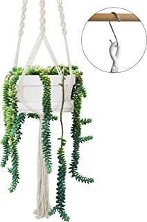 8 Inch Matte White Ceramic Hanging Planters with Tray for Indoor Plants, Planter Pot Hanging Cotton Ropes, Boho Home Décor Macramé Plant Hanger with Pot for Indoor Outdoor Flowers and Herbs