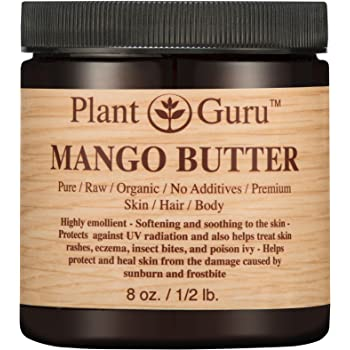 Mango Body Butter 8 oz. 100% Pure Raw Fresh Natural Cold Pressed. Skin Body and Hair Moisturizer, DIY Creams, Balms, Lotions, Soaps.