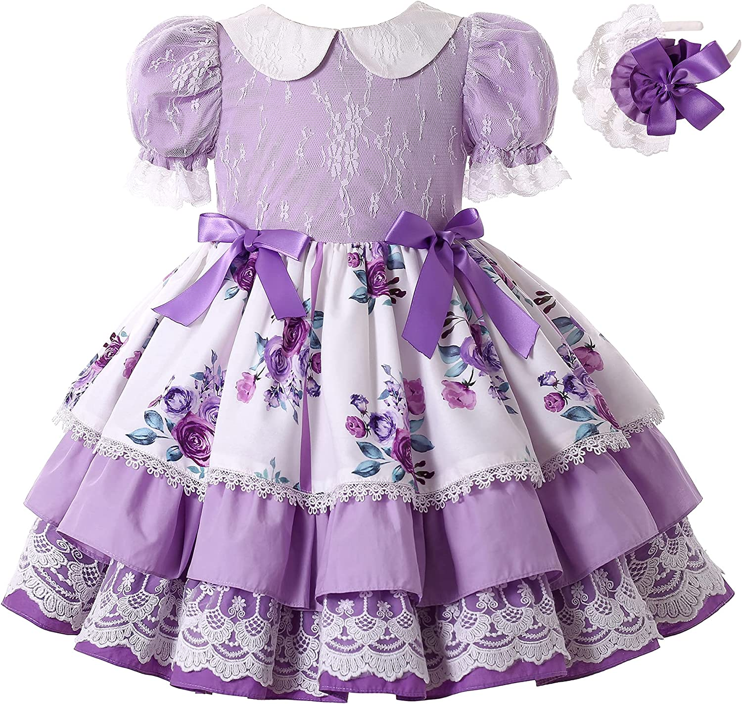 Pettigirl Girls Elegant Purple Floral Ruffle Lace Clothes Kids Toddler Lovely Pageant Party Wedding Boutique Dresses
