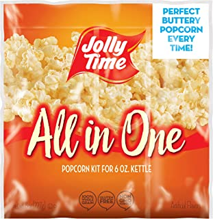 JOLLY TIME All in One Kit for 6 oz. Popcorn Machine | Portion Packet with Kernels, Oil and Salt for Commercial, Movie Theater or Air Popper (Net Wt. 8 oz. Each, Pack of 36)