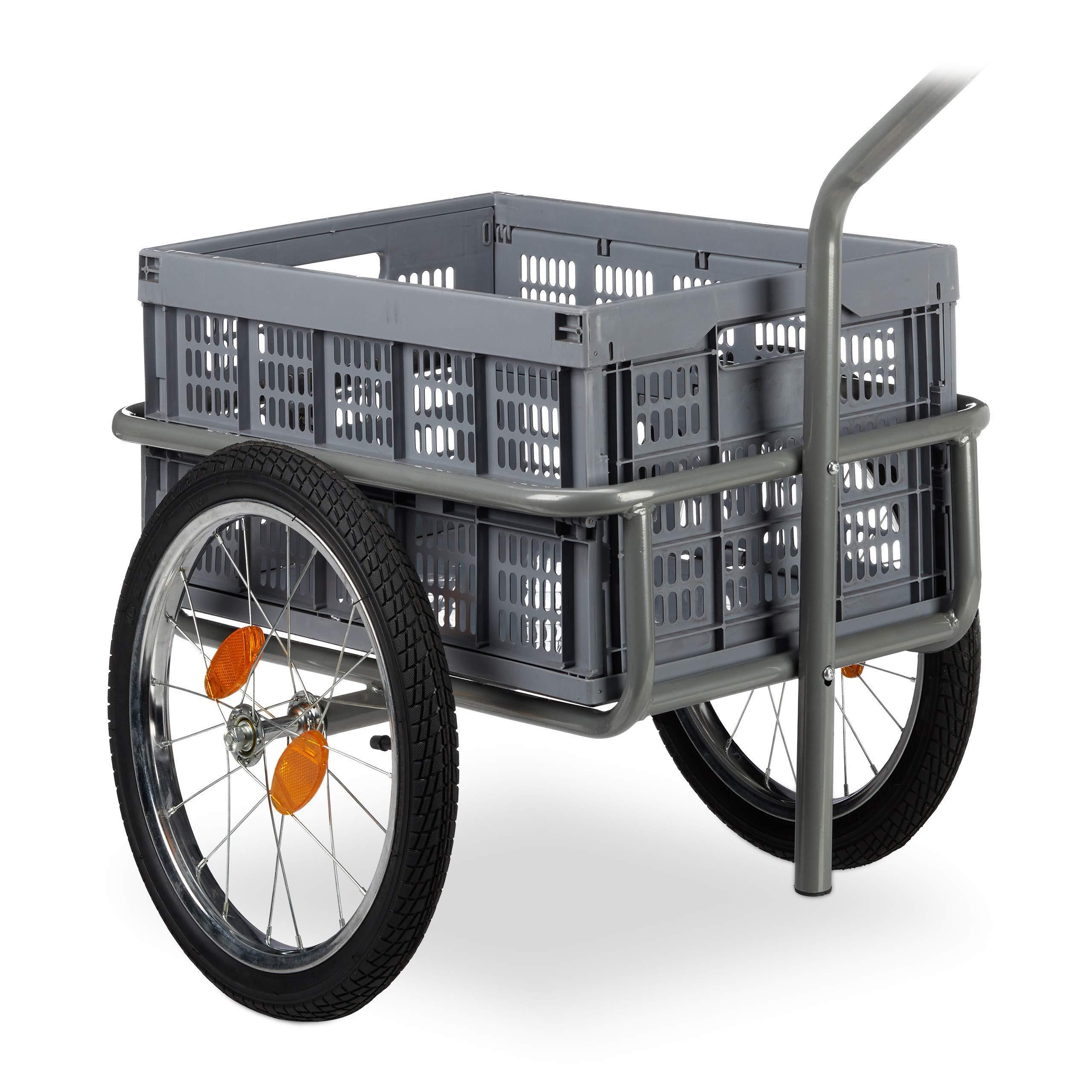 Relaxdays Remolque para Bicicleta, Carro de Mano, Caja Plegable, Acoplamiento de Bola, hasta 50kg, Gris: Amazon.es: Deportes y aire libre