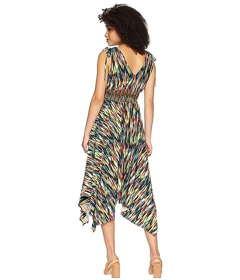 Low hombros con Negro Rainbow Múltiple fruncidos Ikat detalle de Hi Maggy Maxi estampado Jersey London wYUxWH1q