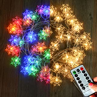 LAMPDREAM 25Ft 50 LED Warm White and Color Changing LED Snowflake String Lights Battery Operated, Remote Control Christmas Fairy Lights for Xmas Tree, Bedroom, Wedding, Party, Patio, Yard, Room Decor