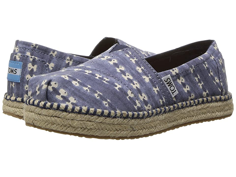 TOMS Kids Platform Alpargata Espadrille (Little Kid/Big Kid) (Navy Batik Stripe) Girls Shoes