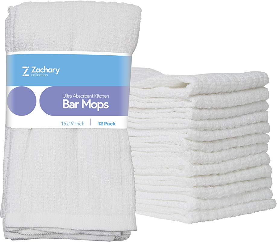 Zachary Collection Cleaning Towels 12 Pack 16 X 19 Kitchen White Ultra Absorbent Bar Mops 100 Cotton Dish Cloths Utility Rags Hand Washcloths