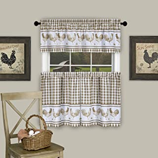 Serenity Home Country Rooster Checkered Kitchen Curtain Plaid Valance (58x14, Taupe)